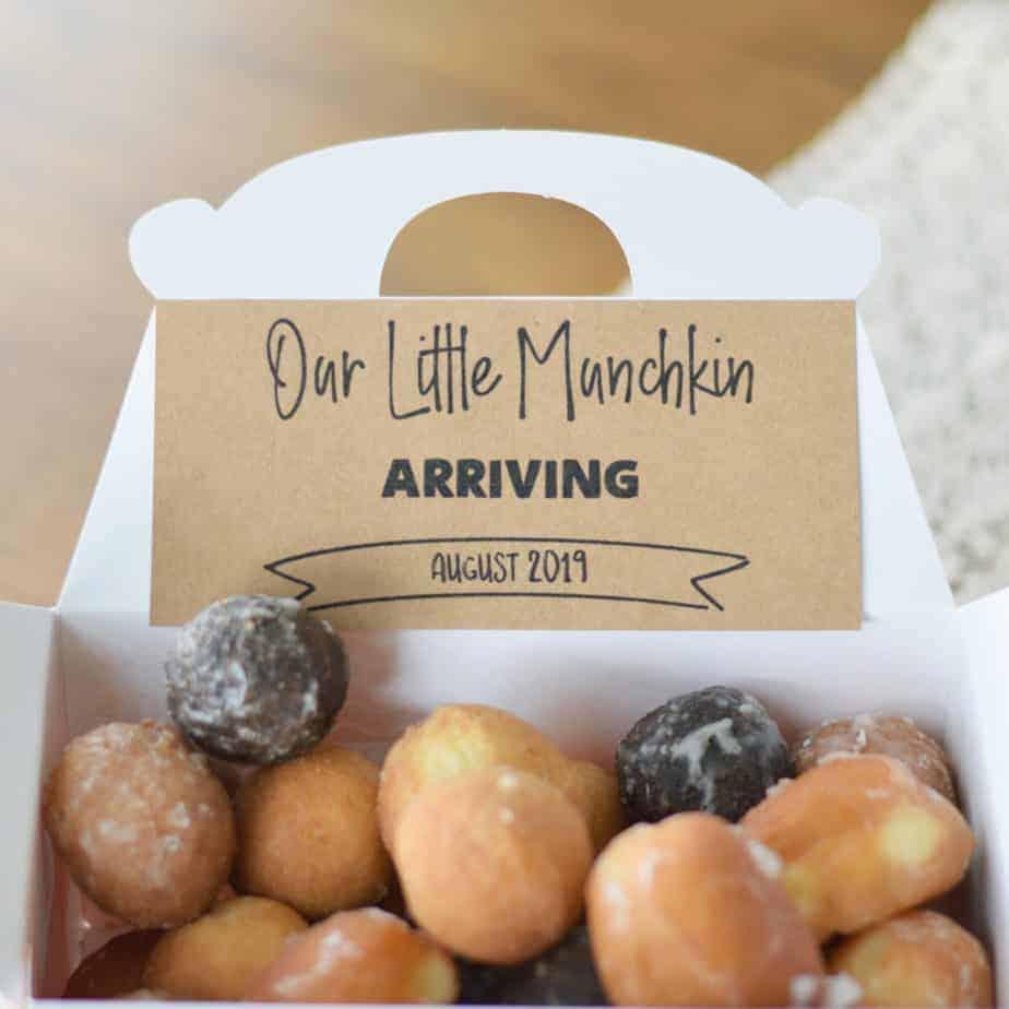 little munchkin donut pregnancy announcement idea