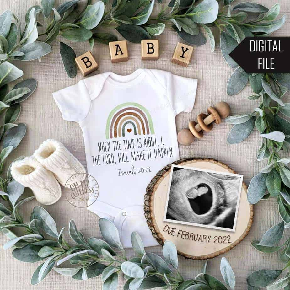 flat lay rainbow baby pregnancy announcement digital file for social media